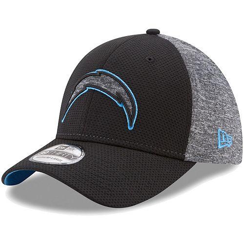 Men's New Era Black/Heathered Gray Los Angeles Chargers Fierce Fill 39THIRTY Flex Hat