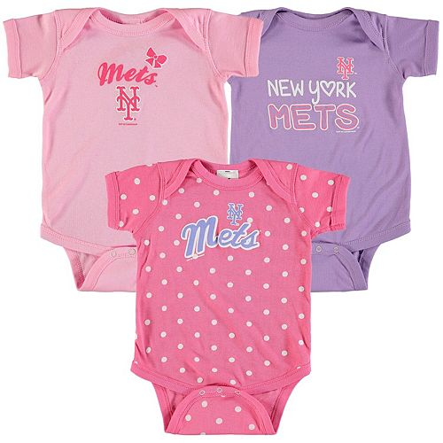 Girls Infant Soft as a Grape Pink/Purple New York Mets 3-Pack Rookie Bodysuit Set