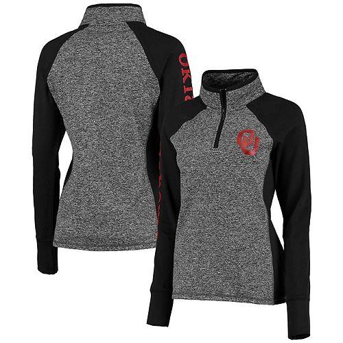 Women's Gray/Black Oklahoma Sooners Finalist Quarter-Zip Pullover Jacket