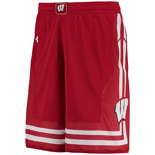 Men's Under Armour Red Wisconsin Badgers Replica Basketball Shorts