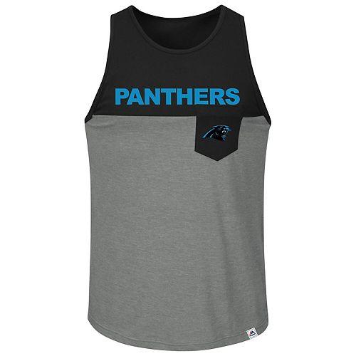 Men's Majestic Black/Charcoal Carolina Panthers Big & Tall Throw in the Towel Tank Top