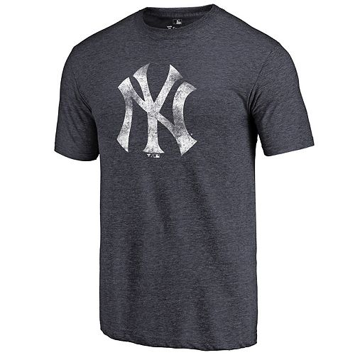 Men's Heathered Navy New York Yankees Distressed Team Tri-Blend T-Shirt