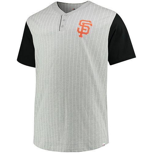 Men's Majestic Gray/Black San Francisco Giants Big & Tall Life or Death Pinstripe Henley T-Shirt