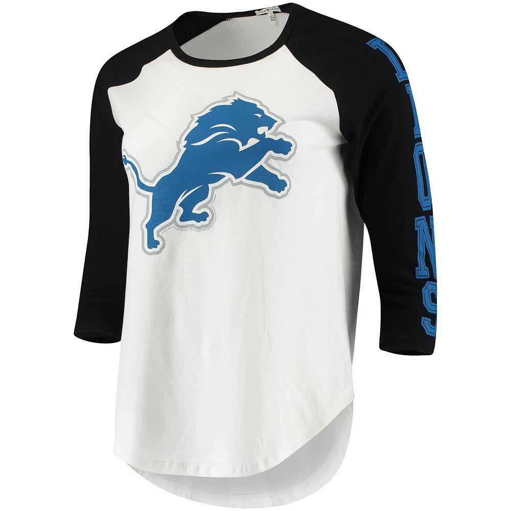 Women's Junk Food White/Black Detroit Lions Vintage 3/4-Sleeve Raglan T-Shirt