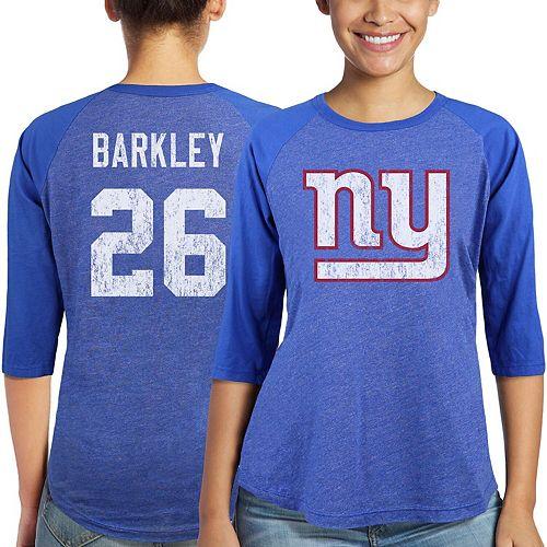 Women's Majestic Saquon Barkley Royal New York Giants Player Name & Number Tri-Blend 3/4-Sleeve Raglan T-Shirt