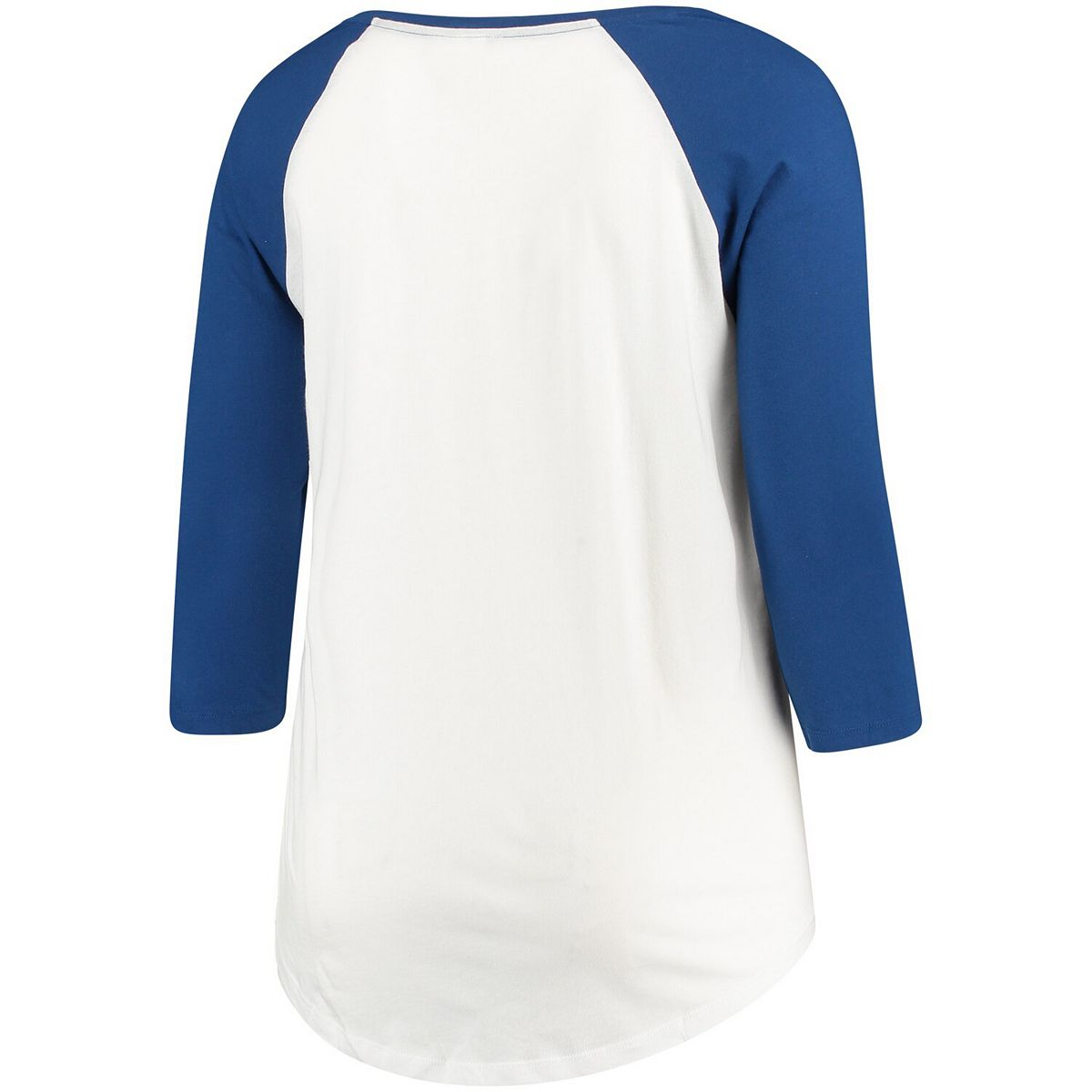 Women's 5th & Ocean by New Era White/Navy Los Angeles Chargers Plus Size 3/4-Sleeve Raglan T-Shirt Pc0aM