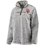 Women's Gray Indiana Hoosiers Sherpa Super Soft Quarter-Zip Pullover Jacket