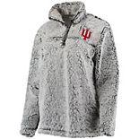 Women's Gray Indiana Hoosiers Sherpa Super Soft Quarter-Zip Pullover Jacket