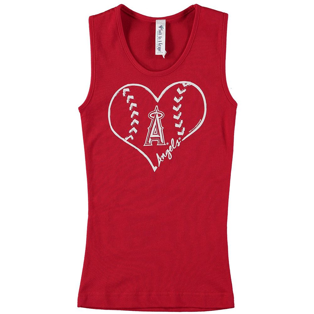Girls Youth Soft as a Grape Red Los Angeles Angels Cotton Tank Top