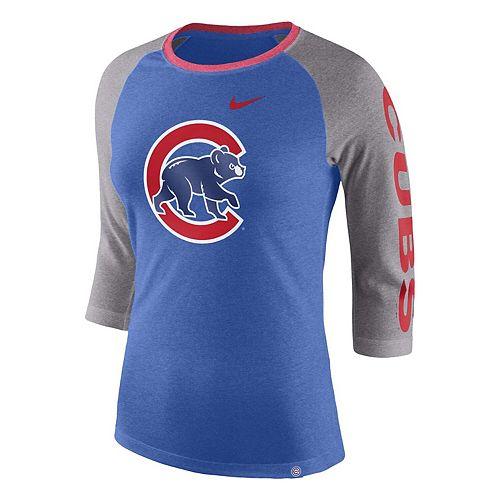 Women's Nike Royal Chicago Cubs Tri-Blend 3/4-Sleeve Raglan T-Shirt