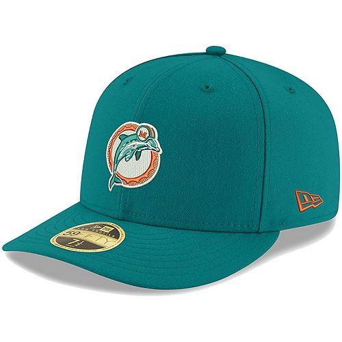 Men's New Era Aqua Miami Dolphins Omaha Throwback Low Profile 59FIFTY Fitted Hat