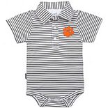 Infant Garb Charcoal/White Clemson Tigers Carson Striped Short Sleeve Bodysuit