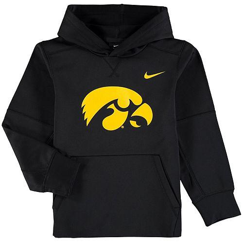 Youth Nike Black Iowa Hawkeyes Logo KO Pullover Performance Hoodie