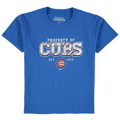 Youth Stitches Royal Chicago Cubs Property Of Team T-Shirt