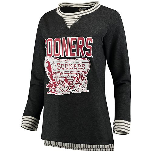 Women's Heathered Charcoal Oklahoma Sooners Striped Panel Oversized Long Sleeve Tri-Blend Tunic Shirt