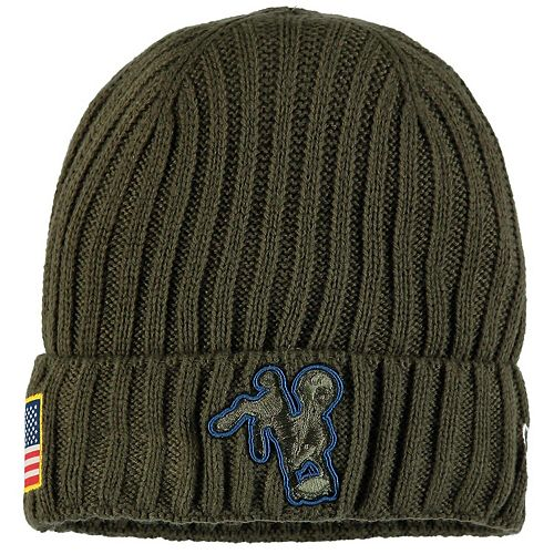 Men's New Era Olive Indianapolis Colts 2017 Salute To Service Cuffed Knit Hat