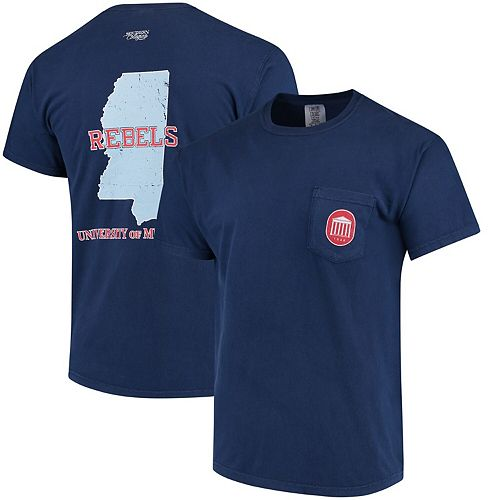 Men's Navy Ole Miss Rebels Southern Collegiate Comfort Colors State T-Shirt