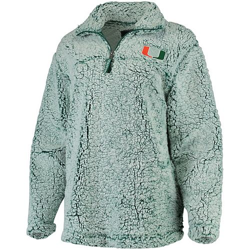 Women's Green Miami Hurricanes Sherpa Super Soft Quarter Zip Pullover Jacket