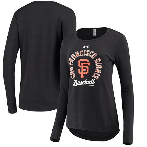 Women's Under Armour Black San Francisco Giants Charged Long Sleeve T-Shirt