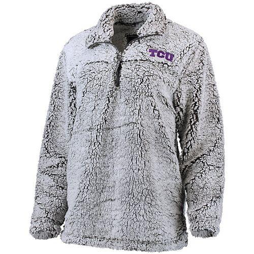 Women's Gray TCU Horned Frogs Sherpa Super Soft Quarter Zip Pullover Jacket