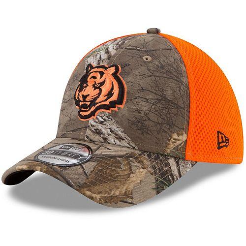 Men's New Era Realtree Camo/Orange Cincinnati Bengals Blaze Neo 39THIRTY Flex Hat