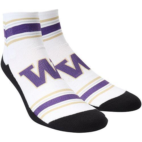 Men's White Washington Huskies Classic Stripes Quarter-Length Socks