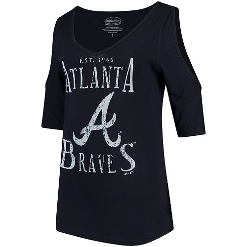 Women's Majestic Threads Navy Atlanta Braves Elbow Sleeve Cold Shoulder V-Neck 3/4-Sleeve Blouse