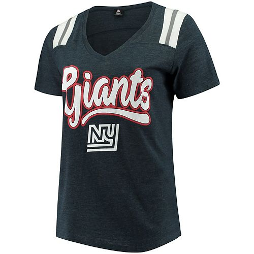 Women's 5th & Ocean by New Era Heathered Navy New York Giants Plus Size Tri-Blend V-Neck T-Shirt
