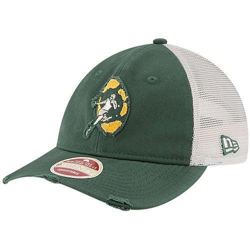 NEW ERA GREEN BAY PACKERS BASEBALL CAP.REVERSE A FRAME ADJUSTABLE TRUCKER HAT 9S