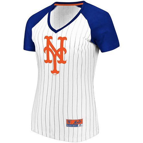 Women's Majestic White/Royal New York Mets Plus Size Raglan V-Neck T-Shirt