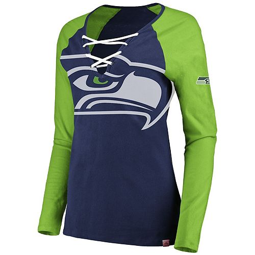 Women's Majestic College Navy/Neon Green Seattle Seahawks Long Sleeve Lace-Up V-Neck T-Shirt