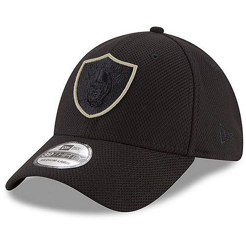 Men's New Era Black Oakland Raiders Tone Tech Three 39THIRTY Flex Hat