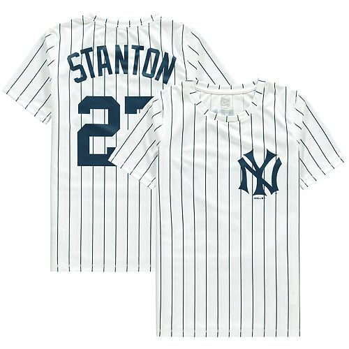 timeless design 24123 6e48c Youth Giancarlo Stanton White/Navy New York Yankees Cooperstown Player  Sublimated Jersey Top