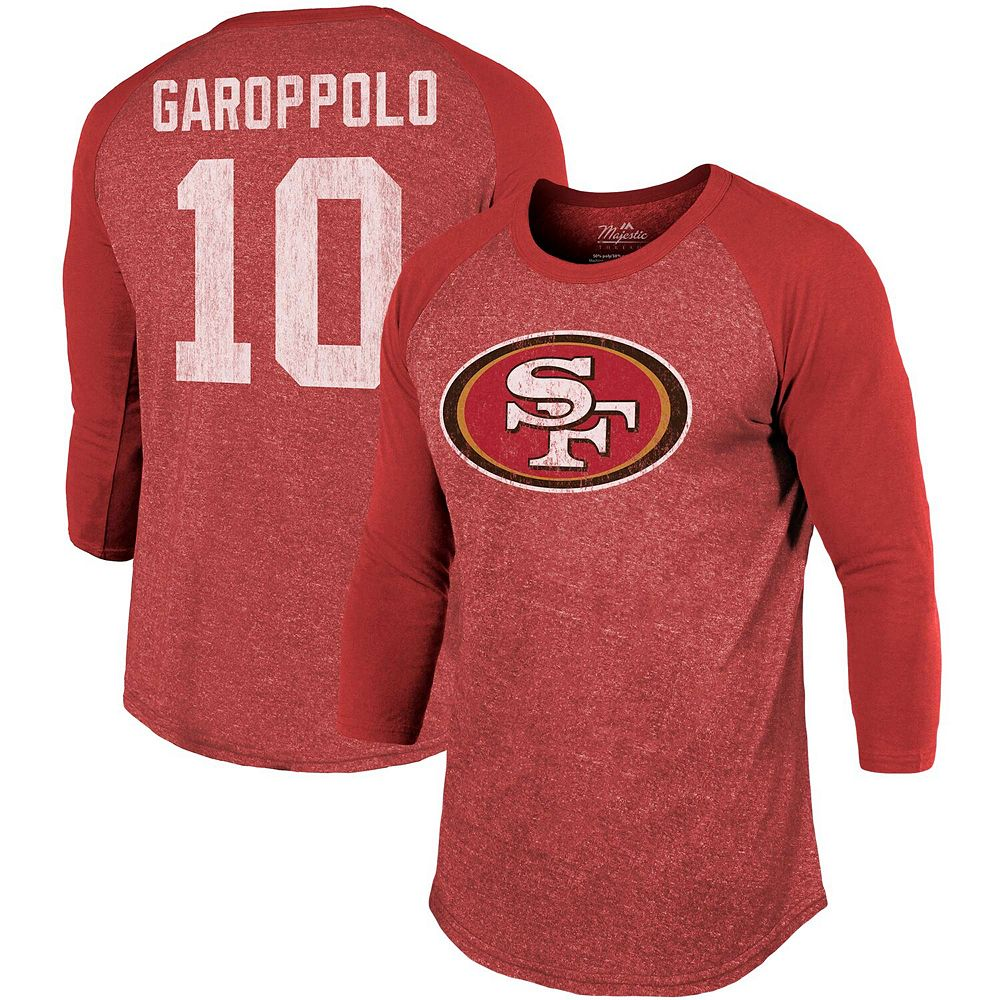 Men's Majestic Threads Jimmy Garoppolo Scarlet San Francisco 49ers Player Name & Number Tri-Blend 3/4-Sleeve Raglan T-Shirt