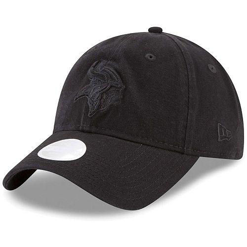 Women's New Era Black on Black Minnesota Vikings Core Classic 9TWENTY Adjustable Hat