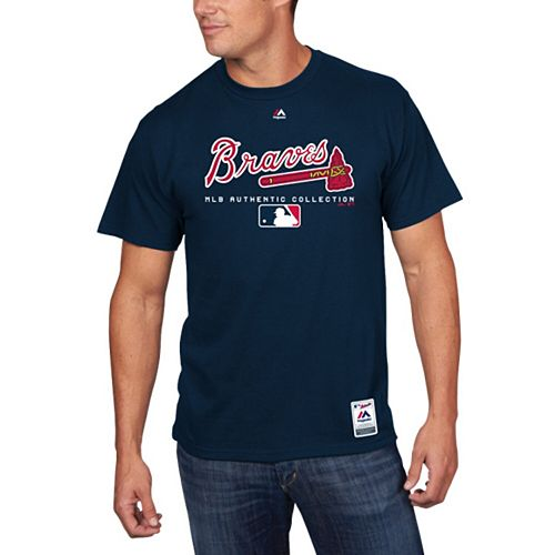 Men's Majestic Navy Atlanta Braves Big & Tall Authentic Collection T-Shirt