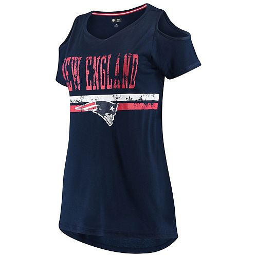 Women's G-III 4Her by Carl Banks Navy New England Patriots Clear the Bases Scoopneck T-Shirt