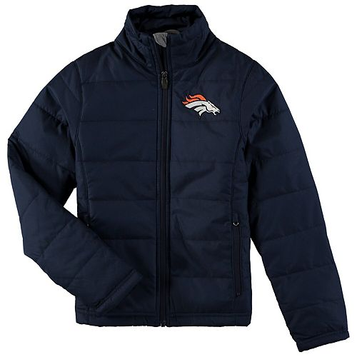 Girls Youth Navy Denver Broncos Cheer Squad Ultra Lite Full-Zip Jacket