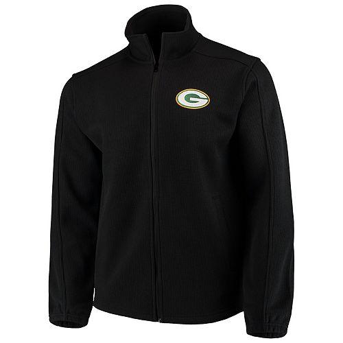 Men's G-III Sports by Carl Banks Black Green Bay Packers QR Audible Full-Zip Fleece Jacket
