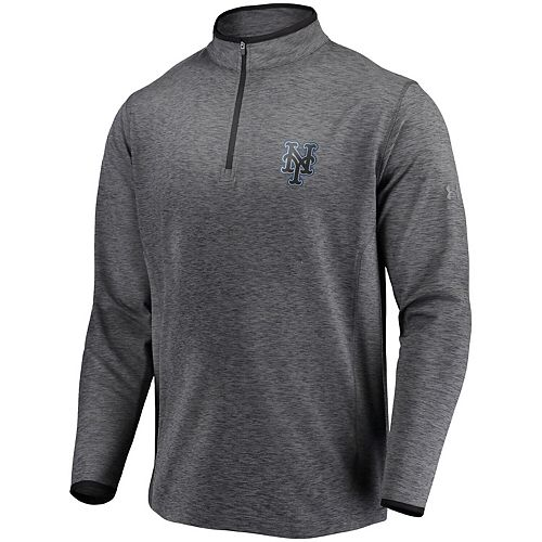 Men's Under Armour Heathered Charcoal New York Mets Stretch Reflective Logo Performance Quarter-Zip Pullover Jacket