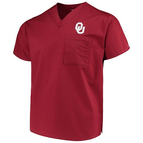 Crimson Oklahoma Sooners V-Neck Scrub Top