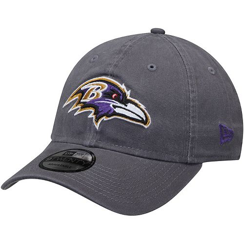 Men's New Era Baltimore Ravens Graphite Core Classic Team Logo 9TWENTY Adjustable Hat