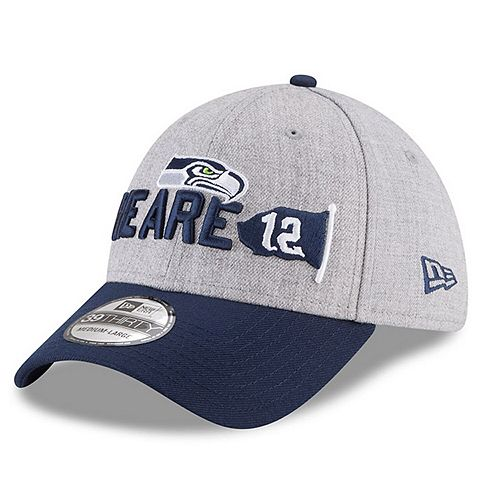Men's New Era Heather Gray/Navy Seattle Seahawks 2018 NFL Draft Official On-Stage 39THIRTY Flex Hat