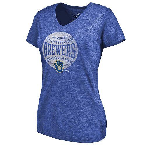 Women's Fanatics Branded Heathered Royal Milwaukee Brewers Slider Tri-Blend V-Neck T-Shirt