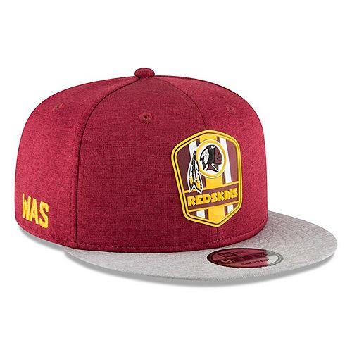 Men's New Era Burgundy/Heather Gray Washington Redskins 2018 NFL Sideline Road Official 9FIFTY Snapback Adjustable Hat