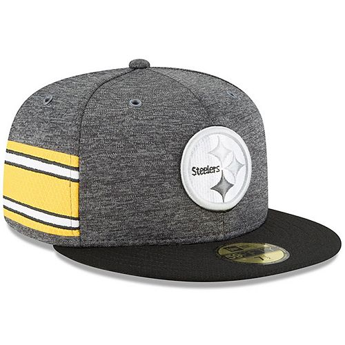 Men's New Era Heather Gray/Black Pittsburgh Steelers 2018 NFL Sideline Home Graphite 59FIFTY Fitted Hat