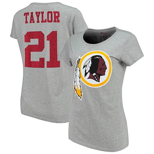 Women's G-III 4Her by Carl Banks Sean Taylor Gray Washington Redskins Glitter Endzone Player Name & Number T-Shirt