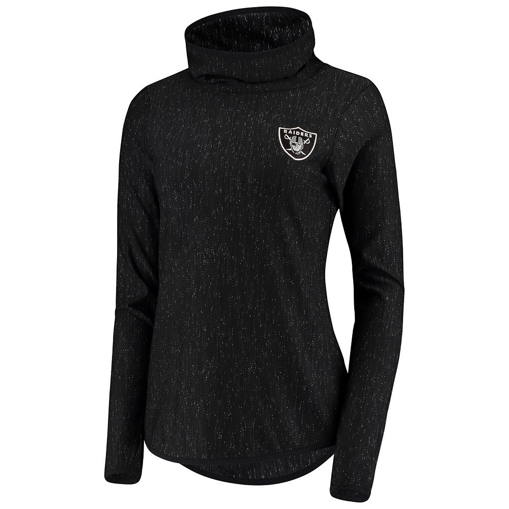Women's Antigua Heathered Black Oakland Raiders Equalizer Cowl Neck Pullover Sweatshirt