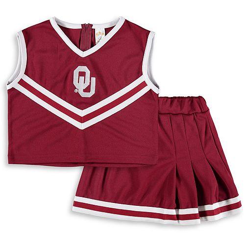 Girls Youth Crimson Oklahoma Sooners Two-Piece Cheer Set