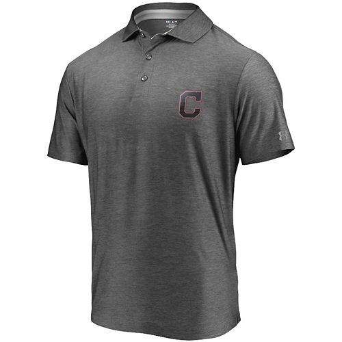 Men's Under Armour Charcoal Cleveland Indians Playoff Reflective Logo Performance Polo